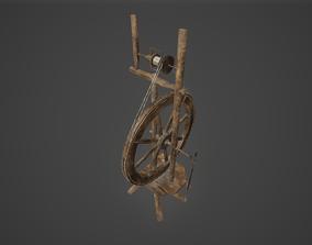 Historical Spinning Wheel 3D asset
