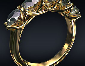models 3D Ring 5 round stones