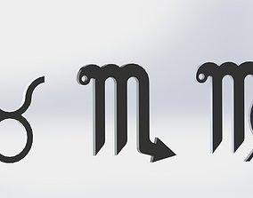 3D printable model Zodiac Signs Keyrings