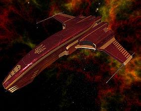 Spaceship Dagger Type 1 Red 3D asset