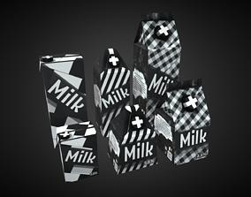 3D asset Milk Cartons Low Poly 2K PBR