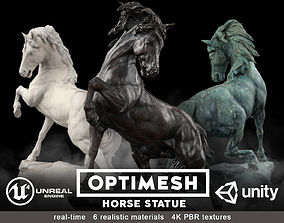 Horse Statue - 3D PBR model low-poly