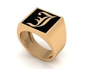 3D printable model Old English Letter Ring J