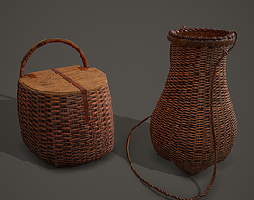Medieval Style Wicker Basket One and Two 3D model