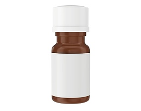 Medicine small glass bottle mockup 3D