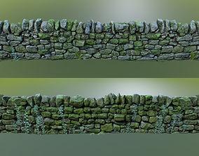 rocks 3D asset game-ready Stone Wall