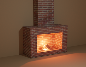 Fireplace - Low Poly 3D model