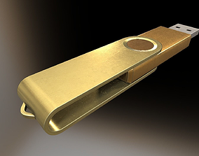 3D model USB Stick Low Poly Gold Version - Gameready - PBR