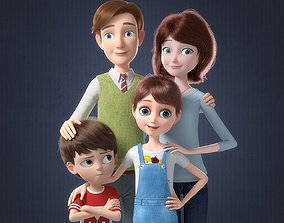 Cartoon Family Rigged V2 3D model