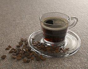 Elegant Glass Coffee Cup 3D asset