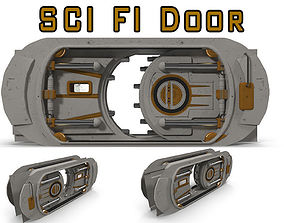 SCI FI Door 3D model animated