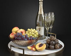 Champagne and Fruit Set 3D