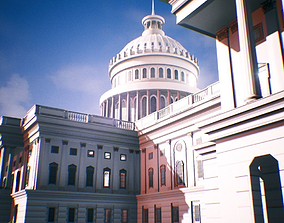 3D model game-ready United States Capitol low poly