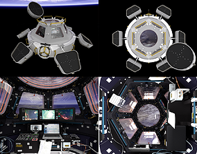 ISS Cupola module interior and exterior 3D model