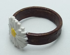 Ring with embossed and overflowing 3D printable model