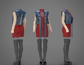 Female asian stile costume 3D
