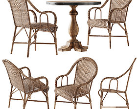 3D model Kokmaison Fauteuil grand pere wicker chair and 1
