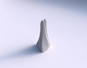 Vase grounded tilted triangle with bent extruded lines 3D