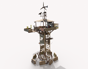 Post-Apocalyptic Watch Tower With Living 3D model
