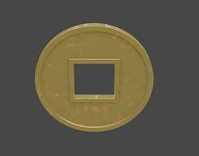 chinese gold coin 2 3D model