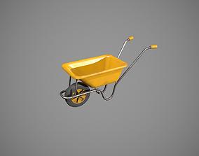 3D asset Yellow Wheelbarrow