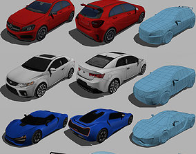 3D model new pack low poly cars