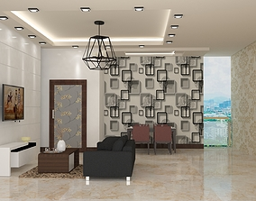 3D animated Living room 07 vray clear scene