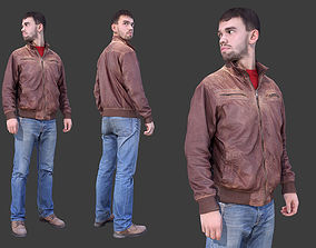 3D asset Casual Man in Leather Jacket