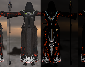 3D asset PBR Magic armor and staff Level2