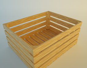 Wood box container 3D model