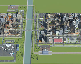 Realistic Lowpoly Simple City 3D asset