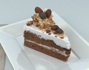 3D model game-ready Chocolate Cake and Nuts -