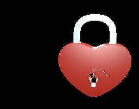 Lock heart voxel 2 3D