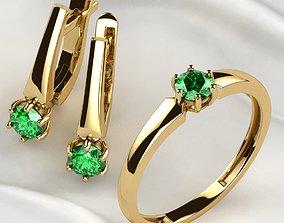3D print model 4mm Emerald Gems Ring and Earrings Set