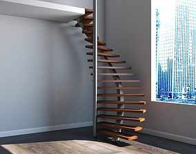 3D model Spiral staircase 01
