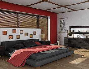 3D Dark Bedroom With Red Details