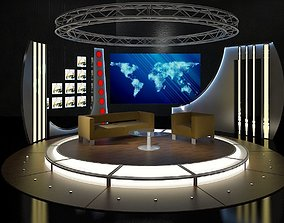 Virtual TV Studio Chat Set 19 3D