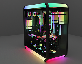 3D model extreme gaming PC with detailed specs and RGB