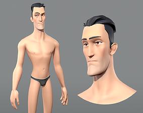 3D asset Cartoon male character Edward base mesh