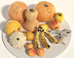 Set of fruits and vegetables 3D asset