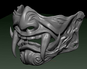 3D print model Oni Samurai mask with big teeth for cosplay