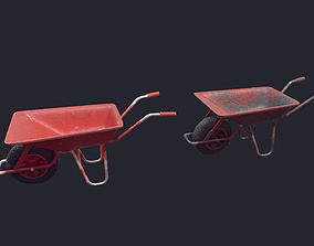 3D model low-poly Wheel Barrow