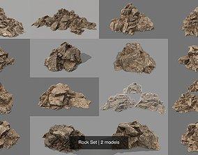 Rock Set 3D model cliff