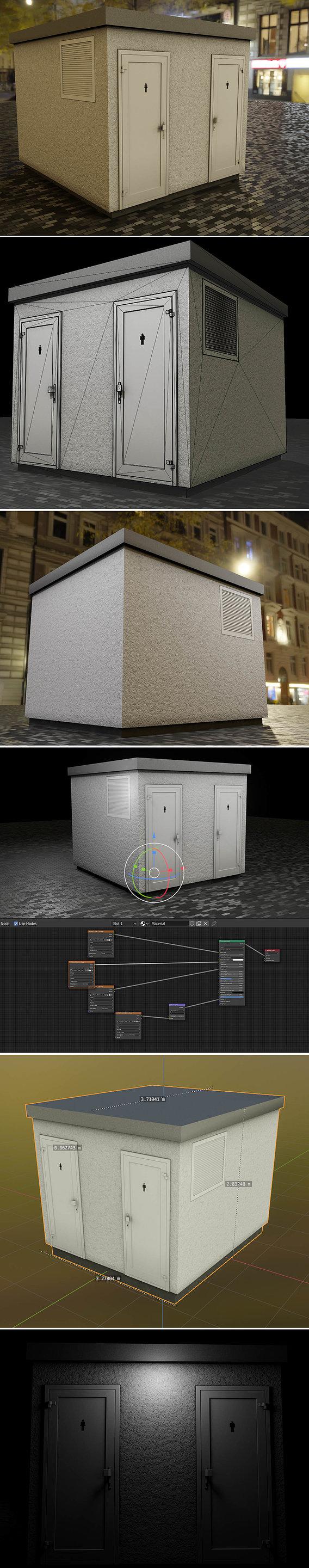 Low-Poly Public Toilet 2 (Blender-2.91 Eevee)