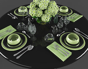 VR / AR ready Dining table with table setting 3d models