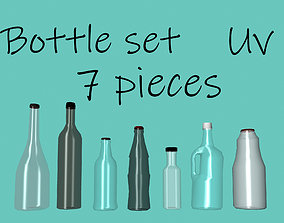 Collection of set glass bottles 7 pieces 3D model