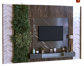 3D model tv wall set 011 green wall
