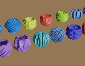 Succulents planters - 13 pieces 3D print model minimalist