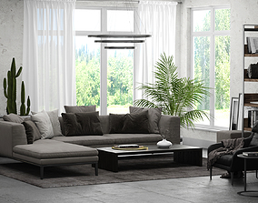 Interior Scene 01 - Living Room for 3ds Max and V-Ray
