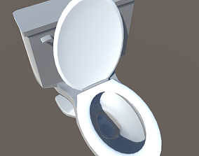 Bathroom Toilet with tilting seat cover 3D
